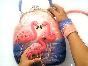 Фламинго — новая валяная сумка. Ярмарка Мастеров - ручная работа, handmade.