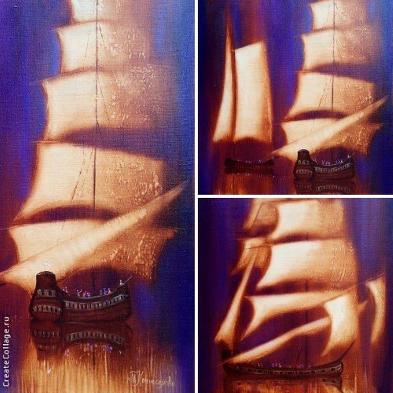 лодка, картина маслом, сказочная картина, золото