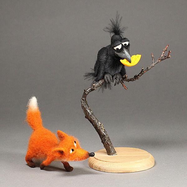 игрушка из шерсти, ворона
