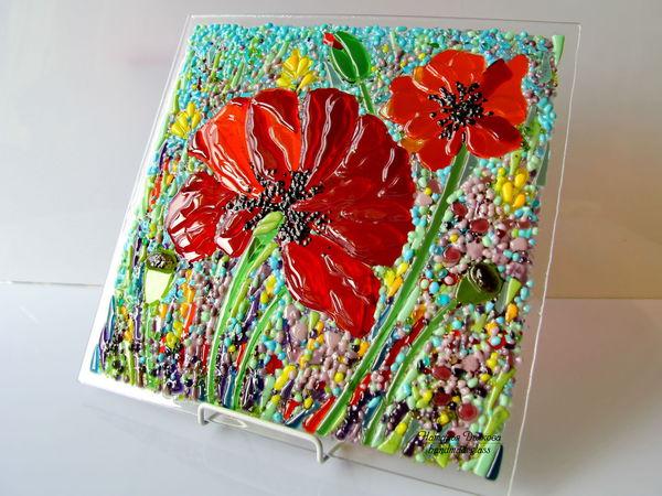 Создаем панно «Маки»: творим из стекла в технике фьюзинг | Ярмарка Мастеров - ручная работа, handmade