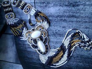 Аукцион на длинный вышитый бисером кулон на бисерных нитях с бахромой с кахолонгами - закрыт! | Ярмарка Мастеров - ручная работа, handmade