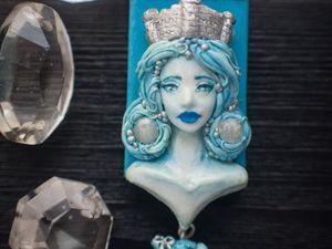 Новинка!!!!  Кулон из полимерной глины « Снежная королева» | Ярмарка Мастеров - ручная работа, handmade