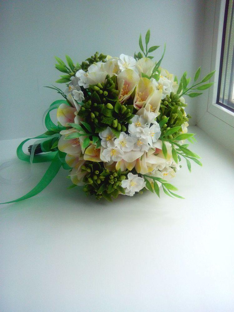 букет невесты, цветы из полимерной глины