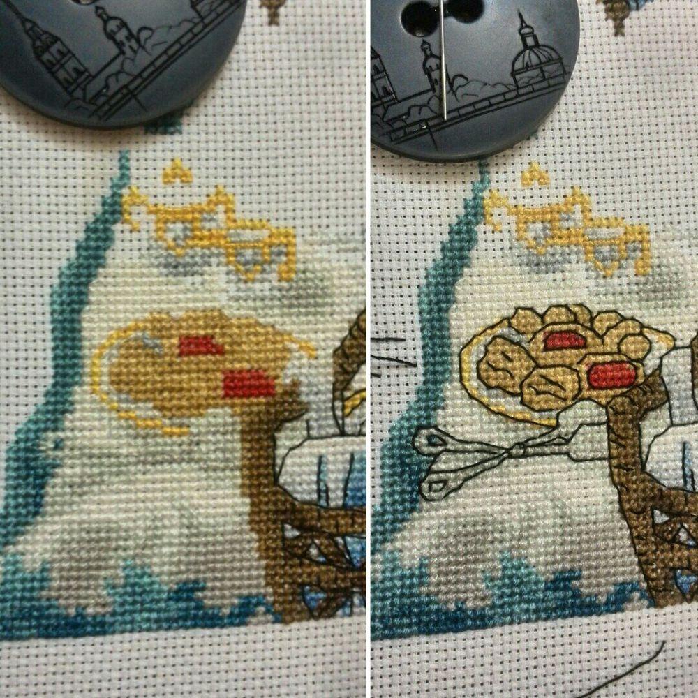 процесс работы, вышивка крестом, картина, море