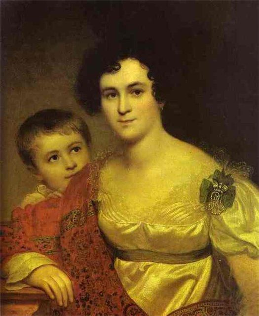 Orest Kiprensky. Portrait of A. I. Molchanova with Daughter.