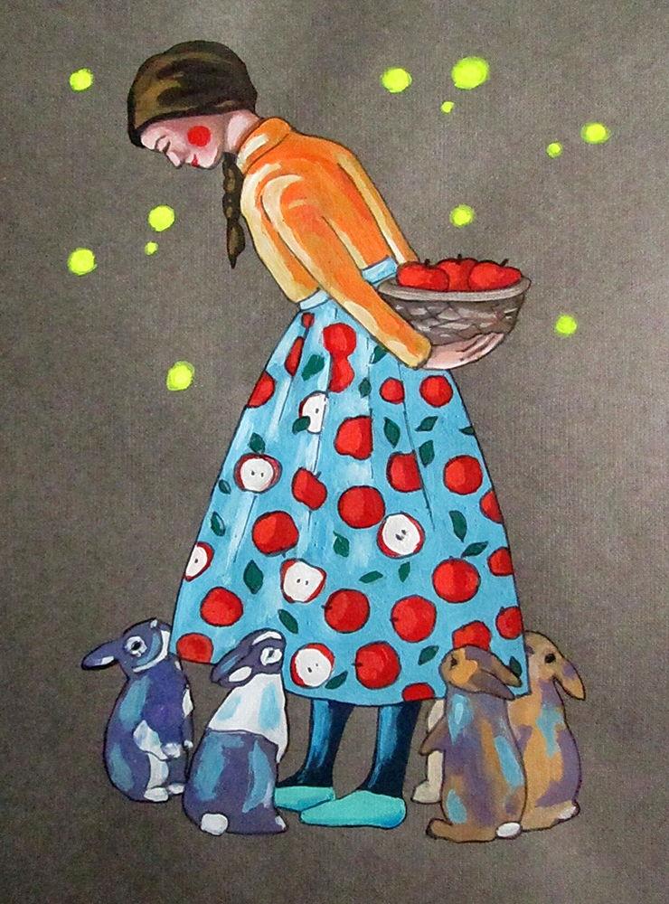 графика, девушка, яблоки, фрукты, зайчик, заяц, кролик, животное, юбка, кофта, купить картину, продажа картин, друг, подарок, сюрприз, корзина