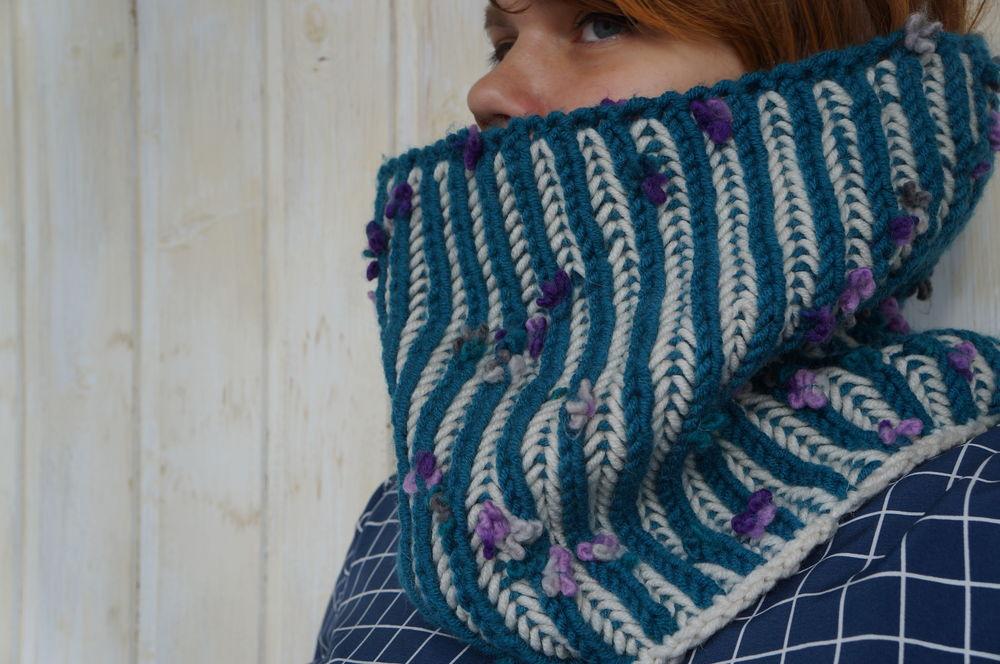 шарф-снуд, спицами
