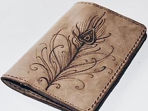 Easy Project: Passport Cover with Burnt Feather. Livemaster - handmade