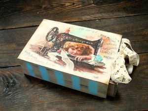 Шкатулка для рукоделия- декупаж, деликатное старение   Ярмарка Мастеров - ручная работа, handmade