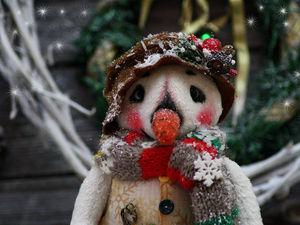 Создаем снеговика в технике тедди. Ярмарка Мастеров - ручная работа, handmade.