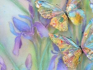 Новая красивая трехслойная  картина на шелке с бабочками! | Ярмарка Мастеров - ручная работа, handmade