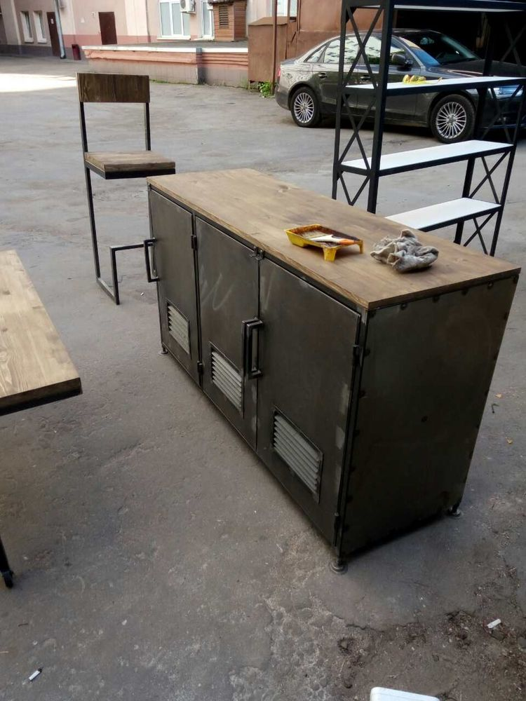 шкаф из металла, стол, стол лофт на заказ, индустриальный лофт, стильная мебель лофт, loft, brutal style
