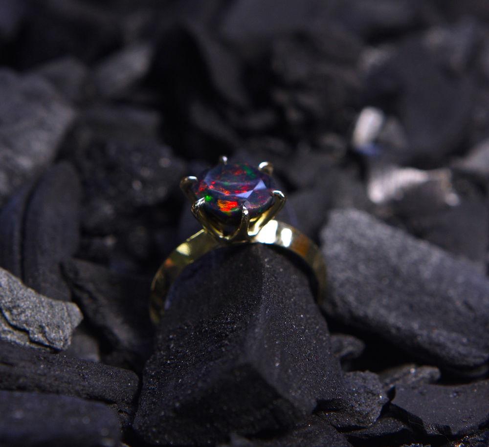 золотое кольцо, серьги с опалом