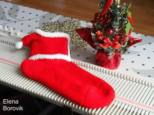 Новогодние носочки с капюшоном на вязальной машине Silver Reed LK150. Ярмарка Мастеров - ручная работа, handmade.