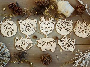 Новогодние ёлочные игрушки из фанеры. Ярмарка Мастеров - ручная работа, handmade.