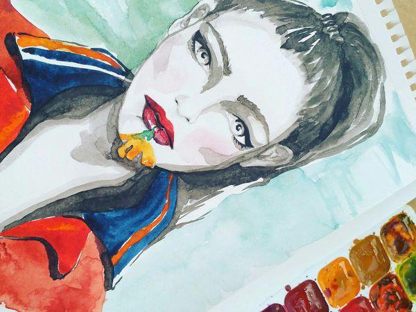 Модный портрет акварелью. Fashion beauty portrait. | Ярмарка Мастеров - ручная работа, handmade