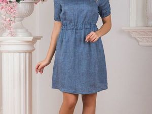 Платье льняное Синий меланж. Ярмарка Мастеров - ручная работа, handmade.