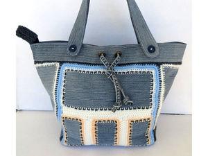 Вяжем сумку с джинсовыми вставками: видеоурок | Ярмарка Мастеров - ручная работа, handmade