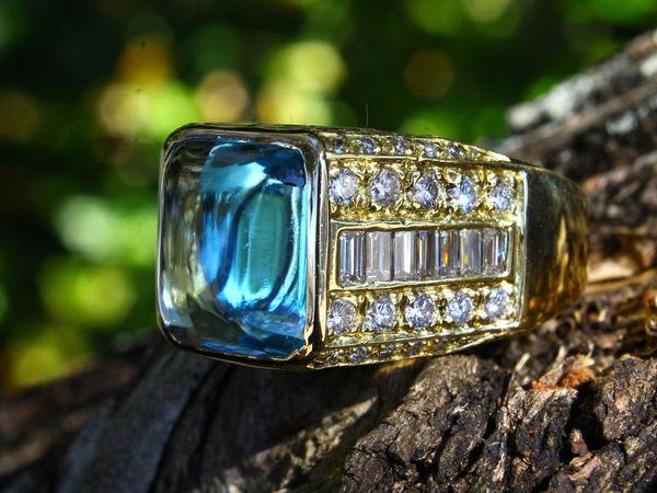 Незабываемое золотое 20 грамм кольцо 18 К Кабошон Аквамарин 17.52 карат с бриллиантами !!!   Ярмарка Мастеров - ручная работа, handmade