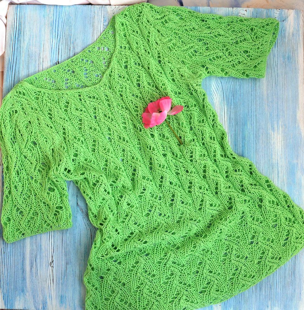 пляжная одежда, зеленый цвет, топ спицами, вязаный топ, ажурное лето