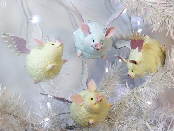 Мастерим подвеску на елку «Крылатая зефирная свинка» | Ярмарка Мастеров - ручная работа, handmade