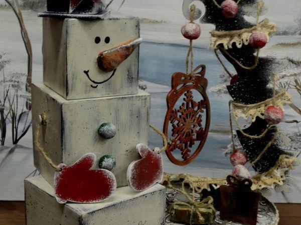 Снеговик под елку   Ярмарка Мастеров - ручная работа, handmade