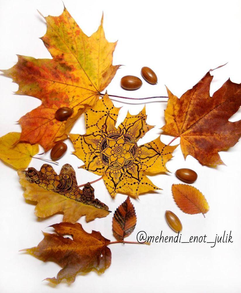 Идея для вдохновения: роспись осенних листьев в стиле мехенди., фото № 5