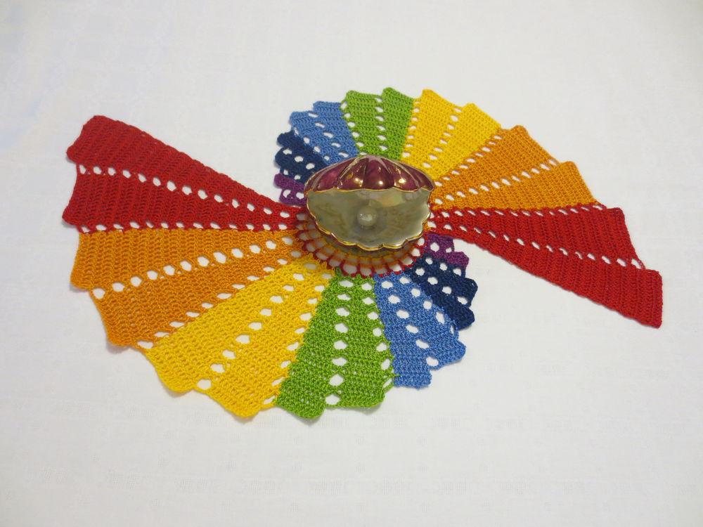 салфетка крючком, салфетки, вязание, подарок, подарок девушке, подарок на 8 марта, 8 марта, радуга, крючком, уют в доме