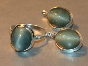 Кольцо серьги кошачий глаз-цимофан-хризоберилл-серебро 925