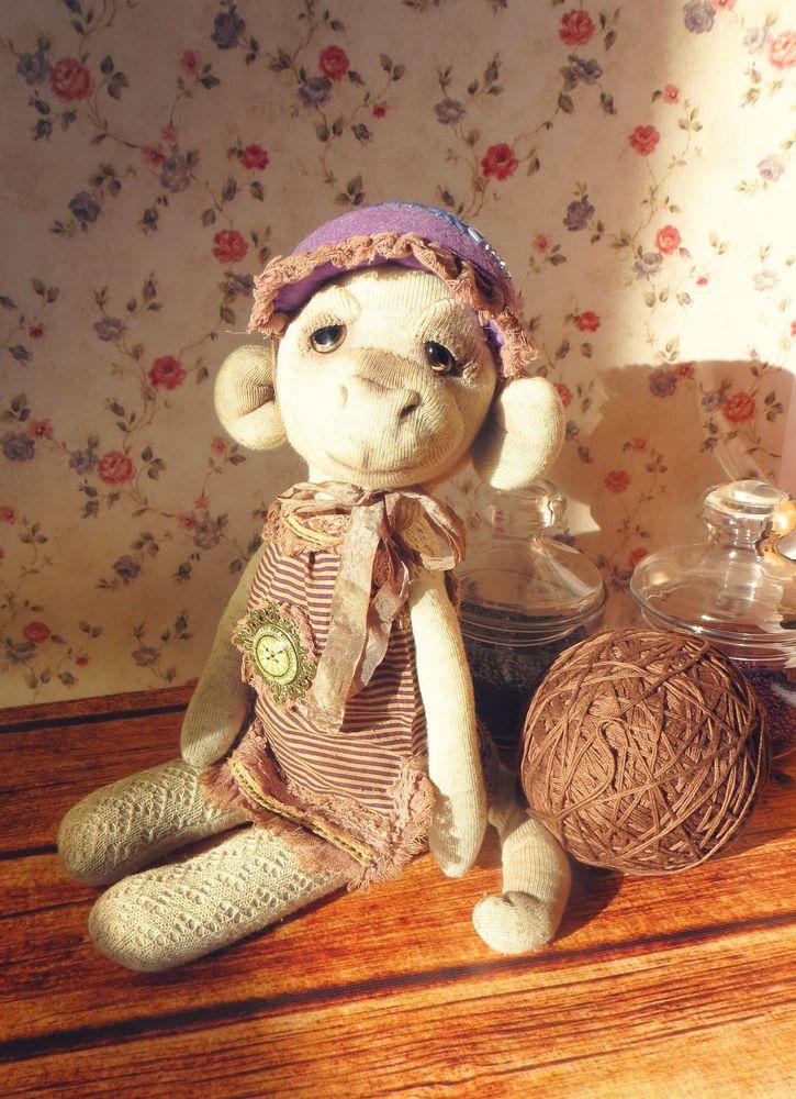лавандовая игрушка, обезьянка в шляпке