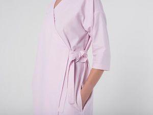 Платье-кимоно YOKU из бледно-розового хлопка-оксфорда. Ярмарка Мастеров - ручная работа, handmade.