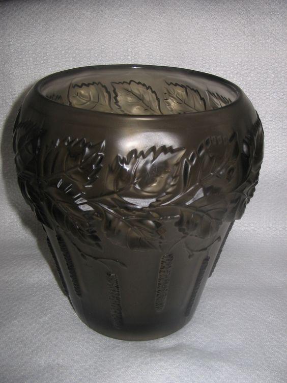 Smoke glass willow and catkin vase 'Barolac' by Josef Inwald: