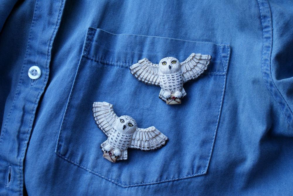 совушка, гарри поттер, брошь сова, белая сова, украшения сова, подарок девушке