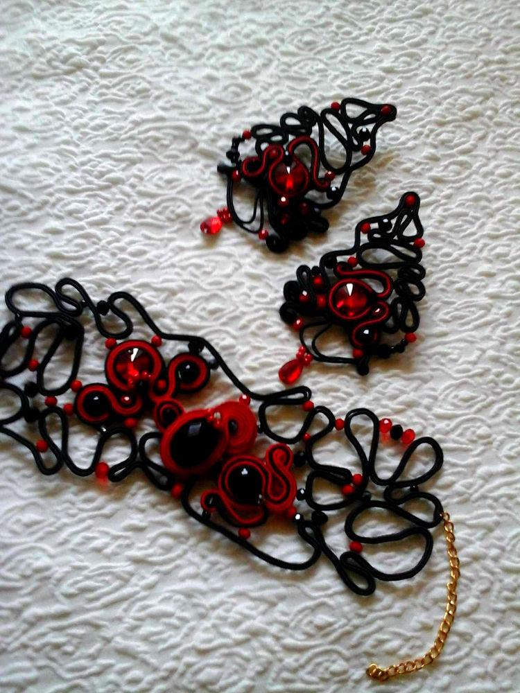 аукцион с нуля, распродажа, чёрный, красный, сутаж, кружево, комплект, большие серьги