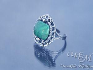 Серебряное кольцо с малахитом. Ярмарка Мастеров - ручная работа, handmade.