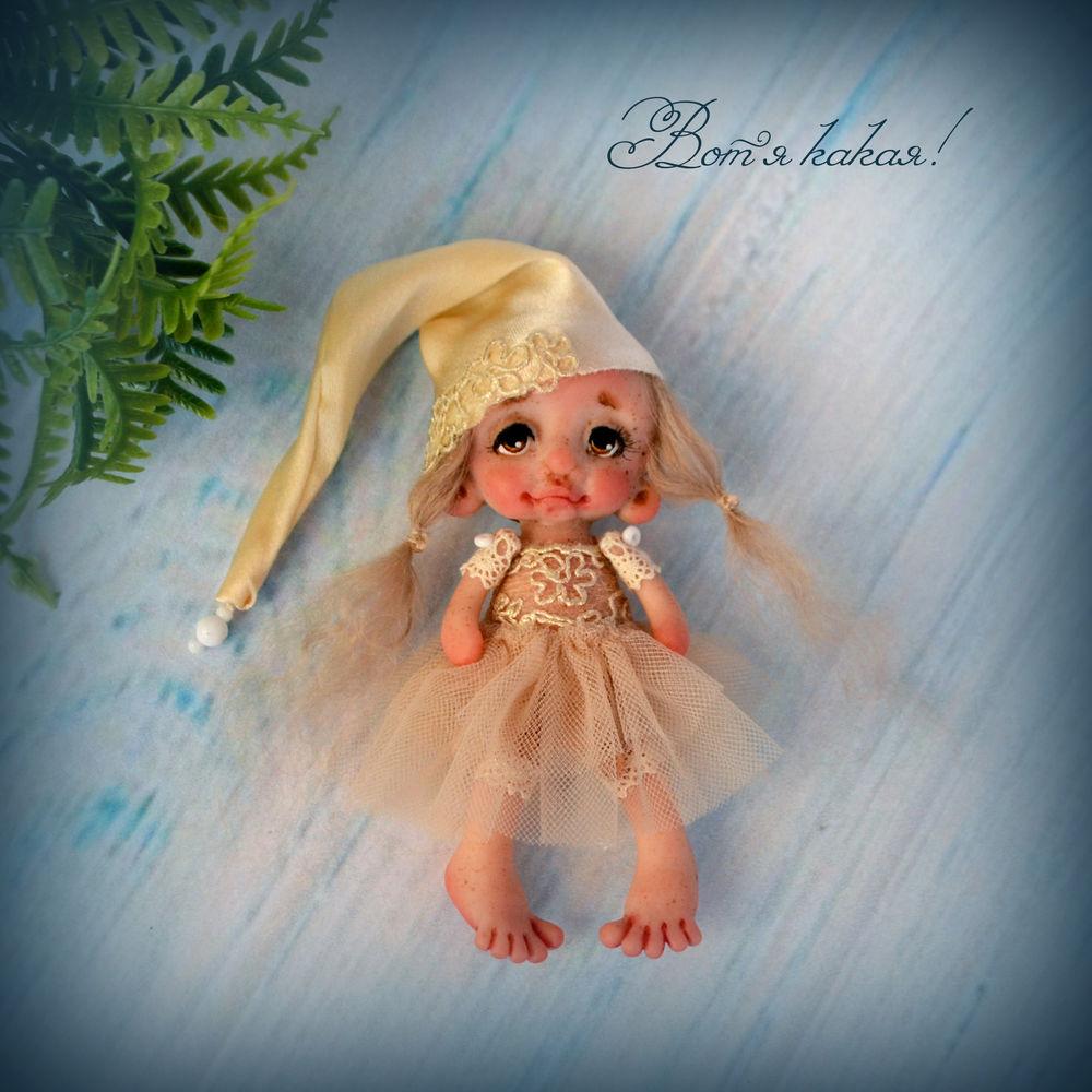 кукла из полимерной глины, нежность, чудо на ладошке