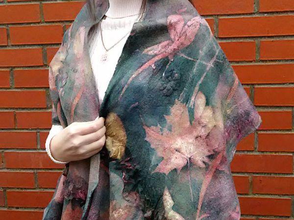 Валяем и красиво красим палантин, шарф в технике медиумпринт | Ярмарка Мастеров - ручная работа, handmade