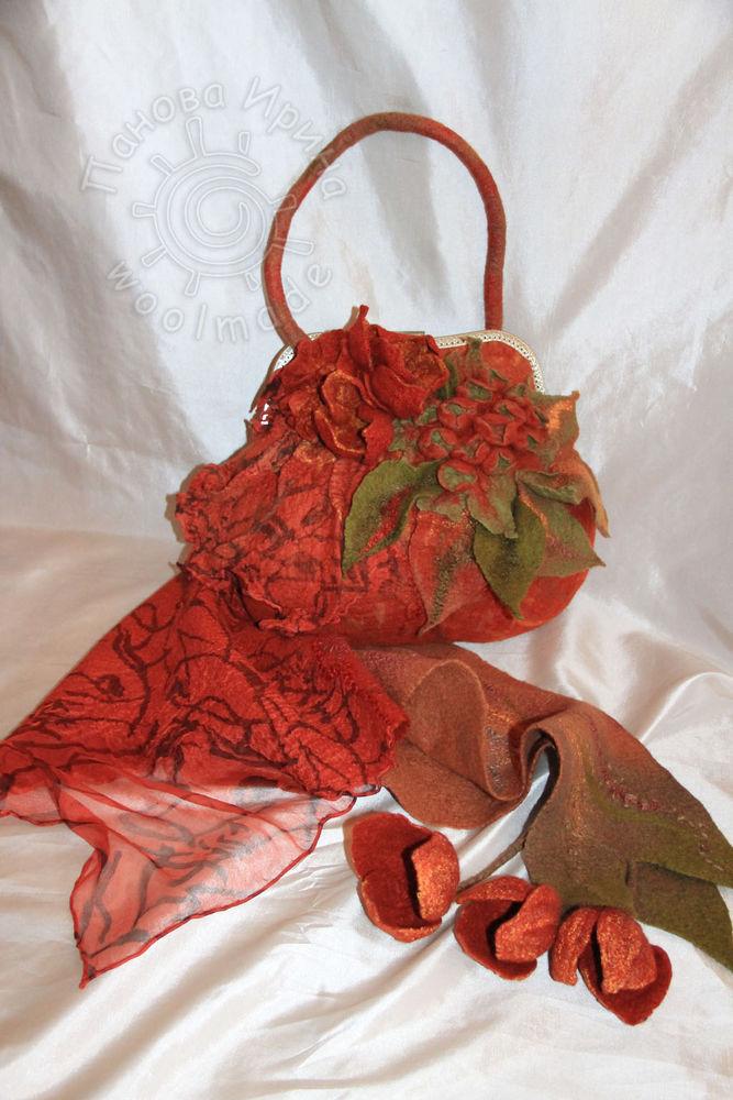 валяный шарф, сумочка с фермуаром