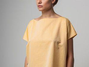 Блуза оверсайз YOKU из светло-оранжевого хлопка со льном. Ярмарка Мастеров - ручная работа, handmade.