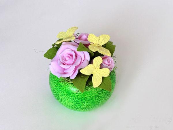 Цветочная композиция с бабочками  из полимерной глины в вазоне | Ярмарка Мастеров - ручная работа, handmade