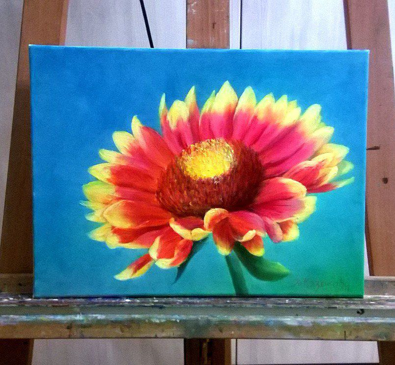 картины маслом, картина в интерьере, цветы, цветок