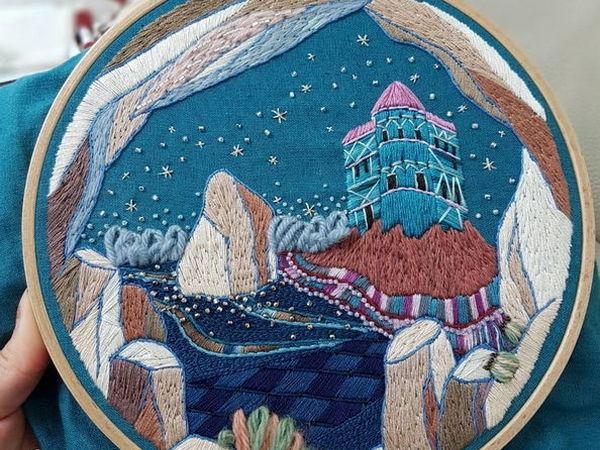 Изумительная вышивка волшебных пейзажей гладью от корейской вышивальщицы Eun-jeong Lee | Ярмарка Мастеров - ручная работа, handmade