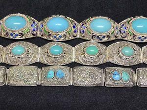 Серебряные браслеты с бирюзой. Ярмарка Мастеров - ручная работа, handmade.