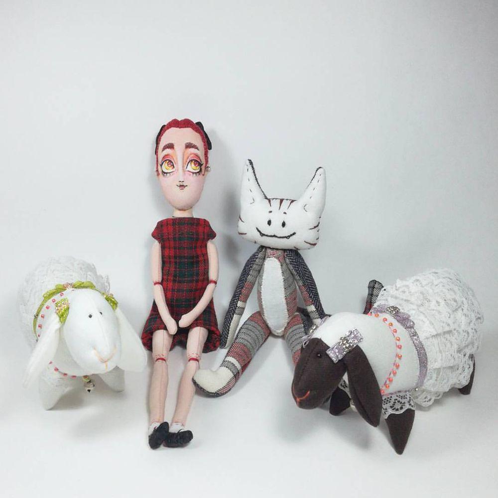 игрушки ручной работы, кот, коты и кошки, котик, овечка, тильда, кукла ручной работы, кукла текстильная, кукла