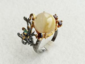 Видео кольца с рутиловым кварцем. Серебро 925 пробы. Ярмарка Мастеров - ручная работа, handmade.