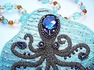 Embroidering an Octopus Heliotropium Pendant. Livemaster - handmade