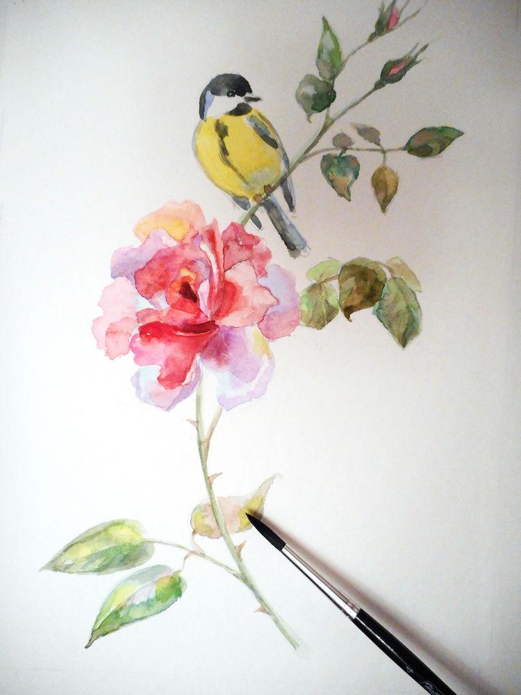 мастер-класс по живописи, рисуем цветы, птицы и цветы, акварельная картина, акварельная живопись, новости мастерской, мастер-классы