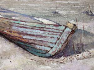 Картина Зимняя река и лодки. Ярмарка Мастеров - ручная работа, handmade.