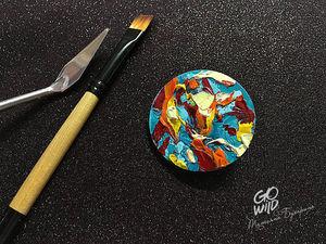 Создаем брошь «Планета», расписанную масляными красками. Ярмарка Мастеров - ручная работа, handmade.