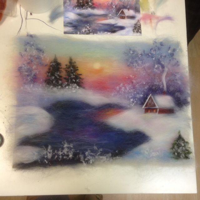 мастер-класс, шерстяная акварель мк, пейзаж из шерсти, теплые картины, подарки своими руками